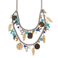 Antique Silver, Gold, Turquoise and Pearl Layered Spirit Charms Necklace | Icing