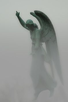 Haunting and mysterious. Shared via: ☫ Angelic ☫ winged cemetery angels and zen statuary: Jack Zulli Cemetery Angels, Cemetery Statues, Cemetery Art, Angels Among Us, Angels And Demons, Statue Ange, Old Cemeteries, Graveyards, I Believe In Angels