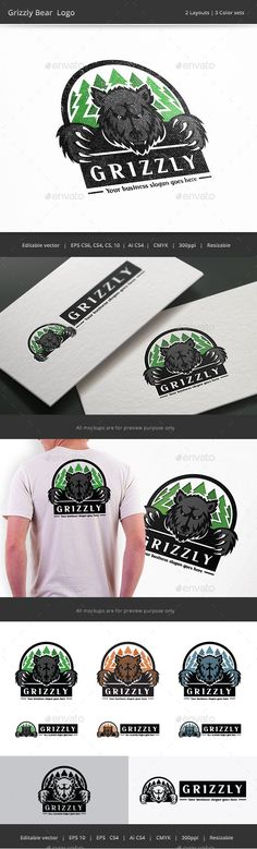 Grizzly Bear Forest - Logo Design Template Vector #logotype Download it here: http://graphicriver.net/item/grizzly-bear-forest-logo/9934808?s_rank=1466?ref=nesto