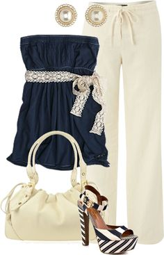 cute navy and white outfit