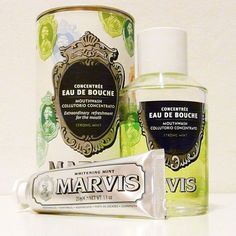 The gorgeous MARVIS strong mint concentrated mouthwash is now available on OFFEN in the 120ml size for your bathroom at home. Shown here with Whitening Mint toothpaste travel size. Travel size 30 ml bottles are also back in stock. #offenstore #MARVIS #marvismouthwash #travelsize