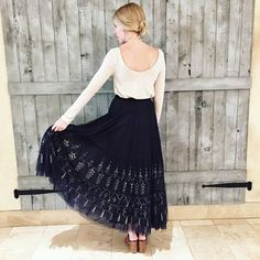 Embroidered Tull Maxi Skirt #Anthropologie #MyAnthroPhoto
