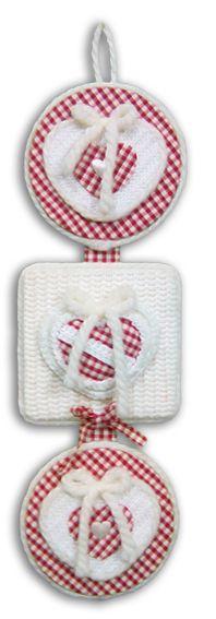 Pendente decorativo Pendente a tre elementi. Applicazioni e decori in cotone  maglia e lana