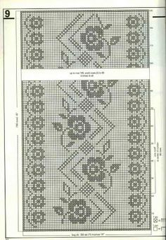 Crochê Tricô - Gráficos: Cortina em Crochê Filet