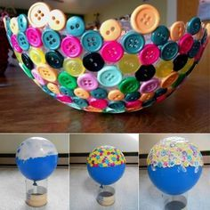 Provided I find a balloon maybe this would be a good use for the buttons laying around. Would make a cute table piece. DIY Button Bowl   TheWHOot