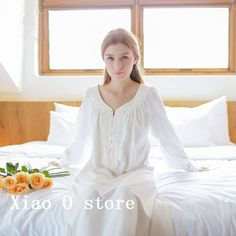 Cotton Nightgown Vintage Royal Sleepwear Long-sleeve $70.88 => Save up to 60% and Free Shipping => Order Now! #fashion #woman #shop #diy www.homeclothes.n...