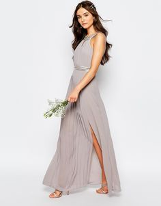 Muted gray + pleats + keyhole detail = the perfect bridesmaid dress for your squad