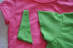 """How to turn a regular tee shirt into a """"girlie"""" tee shirt with puff sleeves and a scoop neck"""