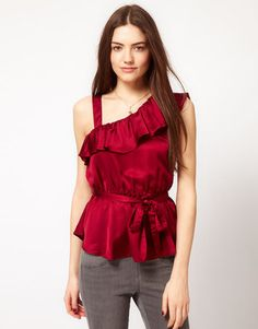 ShopStyle: French Connection One Shoulder Frill Top was £ 72 now £42