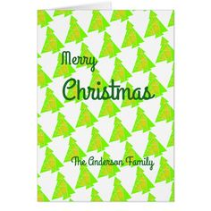 Patterned christmas tree card customise to family