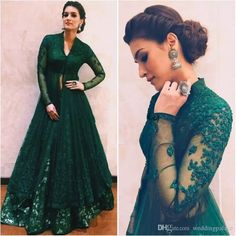 Hunter Green Beaded Two Pieces Formal Dresses Evening Wear With Long Sleeves Beaded Lace Evening Gowns Floor Length V Neck A-Line Prom Dress Indian Gowns Dresses, Pakistani Dresses, Indian Outfits, Evening Dresses, Bride Dresses, Dresses Uk, Indian Evening Gown, Indian Anarkali, Anarkali Dress