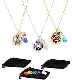 3 Essential Oil Diffuser Necklaces  Aromatherapy Jewelry  1799 each  Hypoallergenic 316L Surgical Grade Stainless Steel 208 Chain  8 Washable Insert Pads  Charms 1799 each >>> ** AMAZON BEST BUY ** #AromatherapyDiffuser