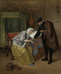 Jan Havicksz. Steen | The Sick Woman, Jan Havicksz. Steen, c. 1663 - c. 1666 | De zieke vrouw. In een interieur neemt een dokter de pols van een jonge vrouw die voorovergebogen met haar hoofd op een kussen ligt. Op de achtergrond een bed, aan de muur een luit en een klok. Linksonder een stoof en een testje.