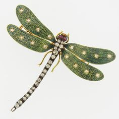 Art Nouveau dragonfly brooch