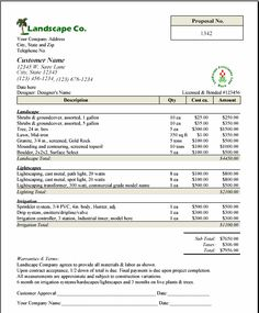 Free Printable Lawn Service Contract Form GENERIC Sample - Maintenance invoice template free order online pickup in store