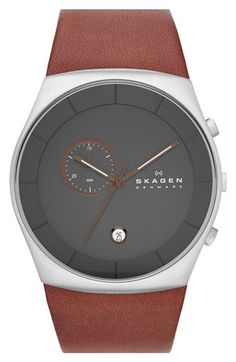 Skagen 'Havene' Chronograph Leather Strap Watch, 42mm available at #Nordstrom