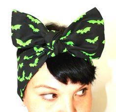 Retro hair tie Neon green Bats by OhHoneyHush on Etsy, $10.00