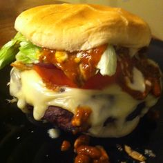 Huge grilled Burger my Hubby made! Yum!