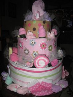 My finished diaper cake. #baby_shower #diaper_cake
