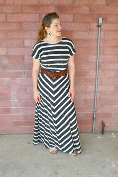 Black or White 2 Black and White Chevron Maxi Dress