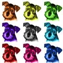 Mosaic Salt and Pepper Schnauzer Puppy 7206 Animal Pop Art Prints by artist James Ahn. Schnauzers are a loyal breed. BBlue as a rat catcher, yard dog, and guard dog. They have high energy and are intelligent... They make great companions... Schnauzer 7206   © Rateitart.com // All Rights Reserved.   #Schnauzer #SchnauzerArt #MinatureSchnauzer #DogArt #PopArt #DogArtPrints #ILoveSchnauzer #SchnauzerArtPrint