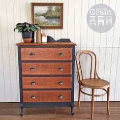 SOLD - Have I told you how much I love Graphite? It's makes everything look so handsome. I was gifted this gorgeous tall boy and it came up a treat. The silky oak top and drawers have been left natural and oiled. A stunning piece that I'm very tempted to find a spot in my house for...{$350}