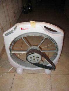 Belt Sander by sitzikbs -- Homemade belt sander adapted from a surplus ventilation fan. http://www.homemadetools.net/homemade-belt-sander
