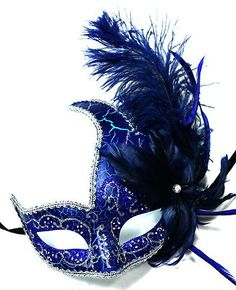 BLUE/SILVER FEATHER MASQUERADE Blue Masquerade Masks, Masquerade Ball Party, Masquarade Mask, Costume Venitien, Funky Hats, Fairytale Fashion, Beautiful Mask, Carnival Masks, Venetian Masks