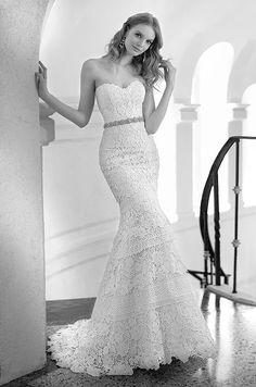 Beautiful strapless lace wedding dress by Martina Liana, Fall 2014