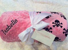 Monogrammed Minky Baby Blanket - Bubblegum Pink Skull Pirate Print - Personalized. $28.50, via Etsy.