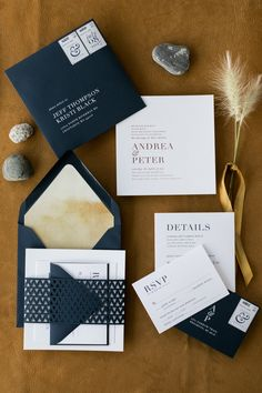 Rustic Modern Letterpress, Laser Cut Belly Band, Envelope Liner Wedding Invitation Inspiration