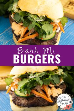 #ad These Easy Banh Mi Burgers are a fresh Vietnamese twist on an American classic. A juicy, savory BUBBA burger is topped with pickled carrot and daikon and fresh cucumbers, cilantro, and jalapenos, then slathered in spicy mayo. Just like your favorite Vietnamese sandwich, only super quick and easy to make at home! #BUBBAburger Pressure Cooker Curry, Bubba Burgers, Easy Bbq Chicken, Vietnamese Sandwich, Pork Roast In Oven, Grilled Lamb, Ground Beef Recipes Easy, Air Fryer Healthy, Hamburger Recipes