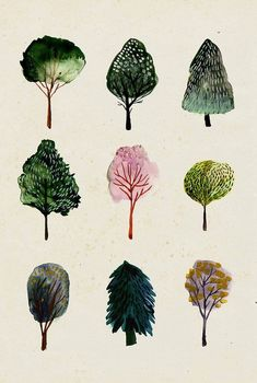 Tree Watercolor Illustration simplistic design of the trees and arangement also watercolor