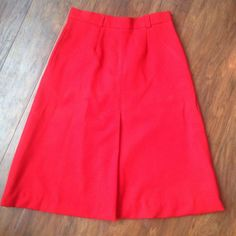 Vintage Sears A Line Skirt Red High Waist Polyester 12 Knee Length Pockets  | eBay