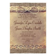 Rustic Country Vintage Burlap Wedding Invitations.  Two Sided Design.  Printed on your choice of paper.  40% OFF when you order 100+ Invites.  #wedding #countrywedding