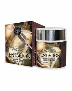 Crema de masaje 'Tentación'  La crema de masaje 'Tentación' tiene un estado sólido que se transformará lentamente en un agradable y sedoso aceite de masaje. Su efecto de calor y su sensual aroma produce una dilatación de los vasos sanguíneos despertando sentimientos de pasión, atracción, y deseo.