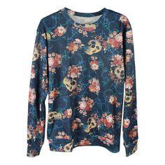 Roses Skull 1D Print Boyfriend Sweatshirt ($23) ❤ liked on Polyvore featuring tops, hoodies, sweatshirts, multi, blue sweatshirt, skull print top, rose print top, blue top and print top