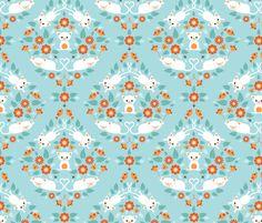 Cat damask fabric by heleenvanbuul on Spoonflower - custom fabric
