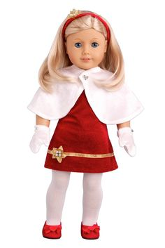 Happy Holidays - Clothes for 18 inch American Girl Doll - Dress, Tights, Shoes, Headband, Cape, Mittens – Dreamworld Collections