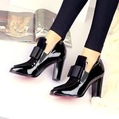 New Fashion 100 Leather Red Bottom Sole Womens High Heels – styleNB Leather High Heels, Black High Heels, High Heel Pumps, Pumps Heels, Black Shoes, Red High, Leather Boots, Cow Leather, Patent Leather