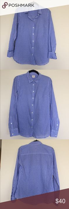J. Crew Gingham Button Down J. Crew Gingham Button Down. Can be worn under sweaters in the fall or with white shorts and a rolled sleeve for the summer... the possibilities are endless with this classic shirt! Great condition. Size S and would fit M too. J. Crew Tops Button Down Shirts