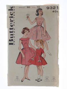 50s -Butterick Pattern No. 9321- Womens/Child dress having a full gathered skirt with front panel that lends itself to novel trimmings. Options for a button trimmed sleeveless version with Bertha collar. Short sleeve style having a high neck, ribbon banding and bow trim on skirt and at neckline. Third choice may be sleeveless with scoop-neck and rick rack trim. Girls size 12.