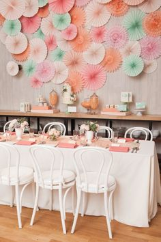 Pinwheel backdrop - Inspired by This Peach, Pink, and Mint Bridal Shower by captured Charlie & Juliet - Styling by Hank + Hunt and Minted - via inspiredbythis