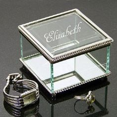 Engraved Beveled Glass Jewelry Great gift idea!