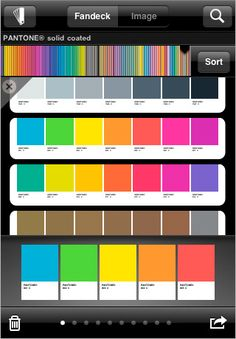 MyPantone | The color picker is a layered interface that lets you pick from a range of colors, sort and scroll as well as open and close detail screens, all without too driving you crazy.