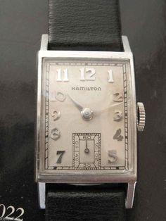 "1948 Hamilton ""Cambridge"" Platinum rectangular men's watch #hamilton #vintage"