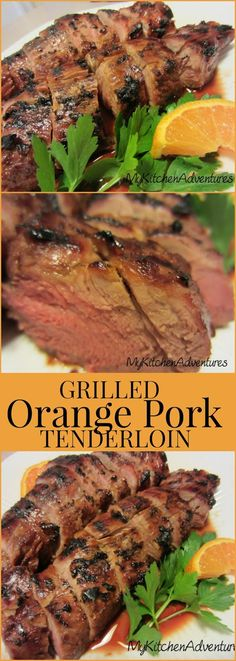 Grilled Orange Pork Tenderloin by Renee's Kitchen Adventures - easy grilled recipe for orange marinated pork tenderloin great for weeknight dinners or even Sunday Suppers! Fresh squeezed orange juice enhances the flavor of this lean pork. Grilling Recipes, Pork Recipes, Cooking Recipes, Healthy Recipes, Chicken Recipes, Cooking Pork, Lean Meat Recipes, Vegetarian Grilling, Tailgating Recipes
