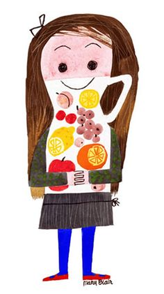 """Juice Girl (AKA """"Lemonade Girl"""" in Japan) by Mary Blair: This charming little character became the mascot of the immensely popular exhibition The Colors of Mary Blair, at the Museum of Contemporary Art, Tokyo (July 24 – Oct. 4, 2009). Like the """"Ice Cream Girl"""", this piece was created in the early 70's in true Mary Blair fashion, out of pure imagination."""