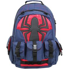 Marvel Spider-Man Built-Up Backpack ($60) ❤ liked on Polyvore featuring bags, backpacks, padded backpack, blue backpack, backpack bags, marvel bag and day pack backpack