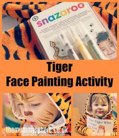 The Tiger Who Came To Tea Face Painting Activity with Snazaroo Brush Pens. Easy Tiger Face Paints that children could even try for themselves.